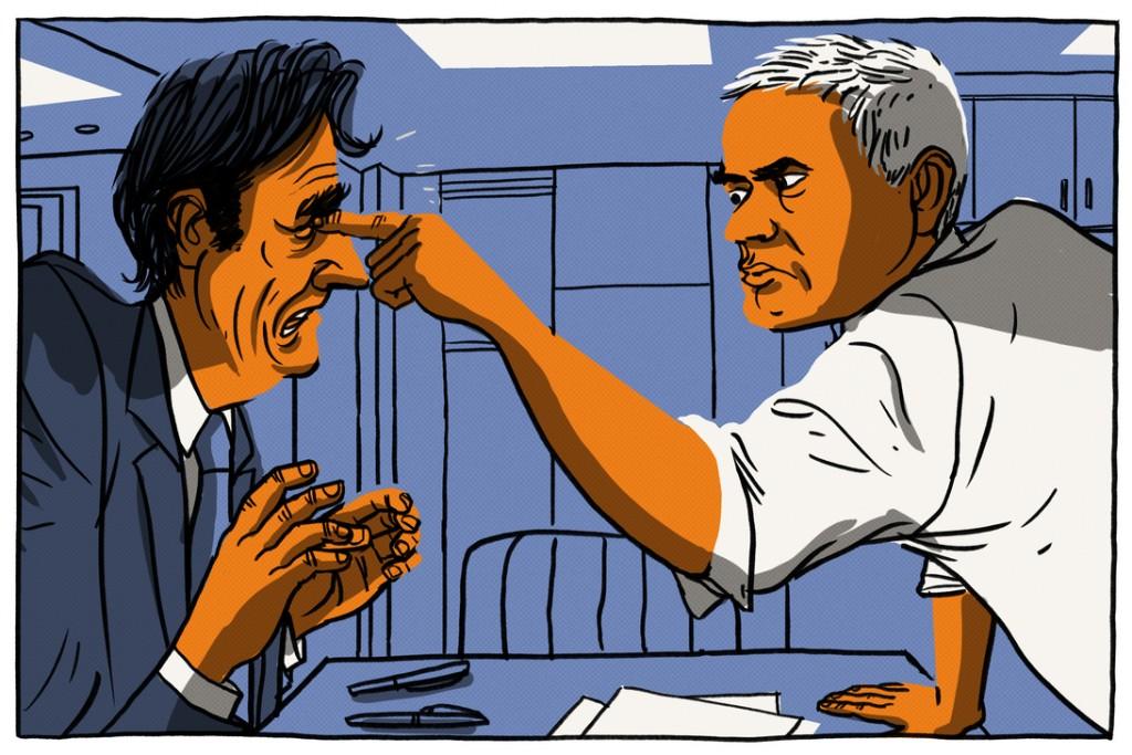 José Mourinho sticht Tito Vilanova ins Auge. © Viking